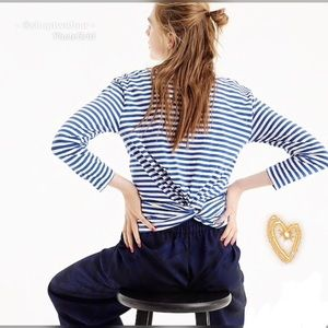 🚤J Crew Twist Back Long sleeve Tee XL striped🚤